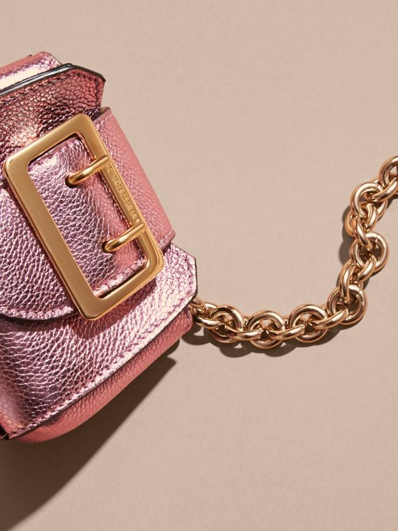 The Mini Buckle Tote Charm in Metallic Leather in Pale Orchid - cell image 2