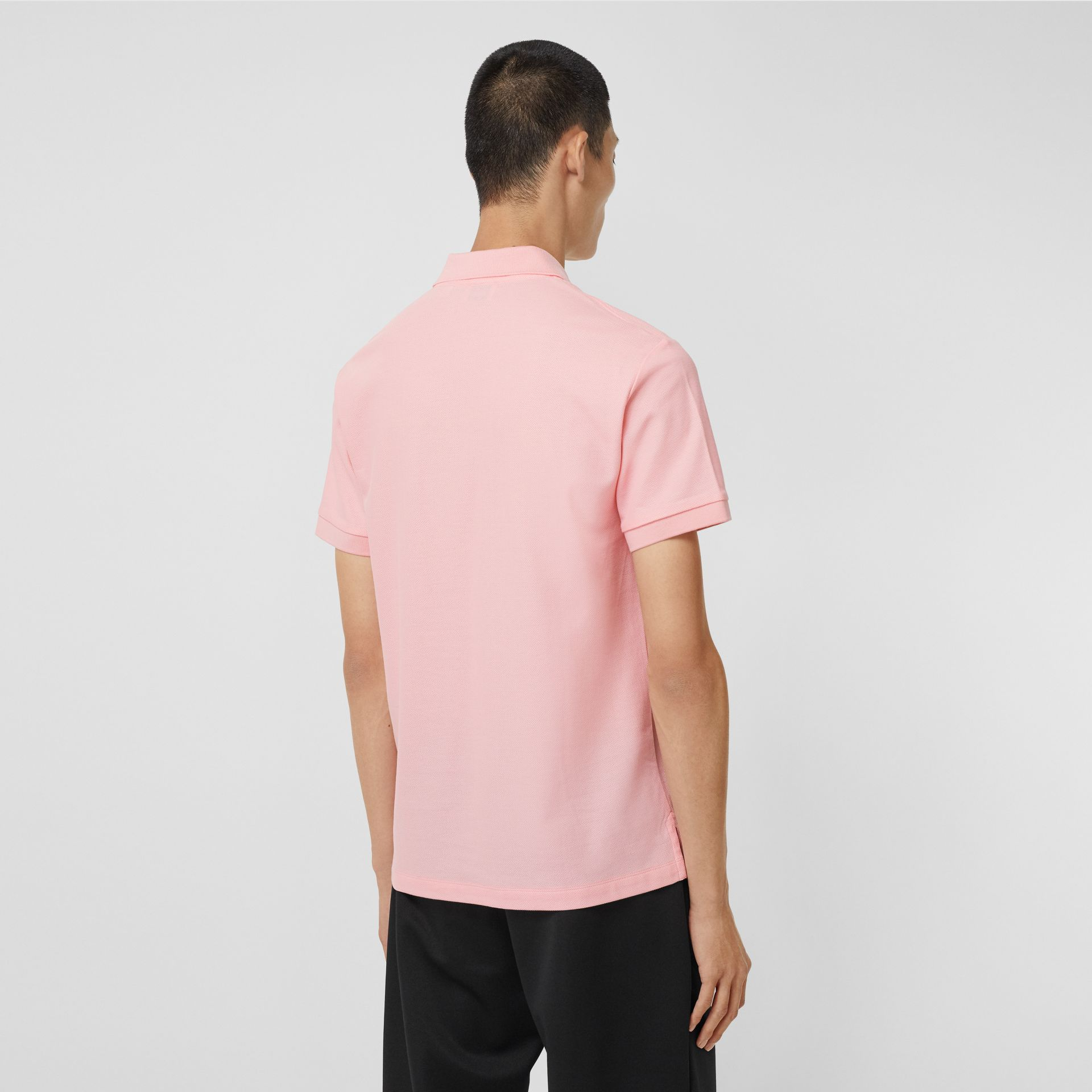 Monogram Motif Cotton Piqué Polo Shirt in Candy Pink - Men | Burberry Australia - gallery image 2