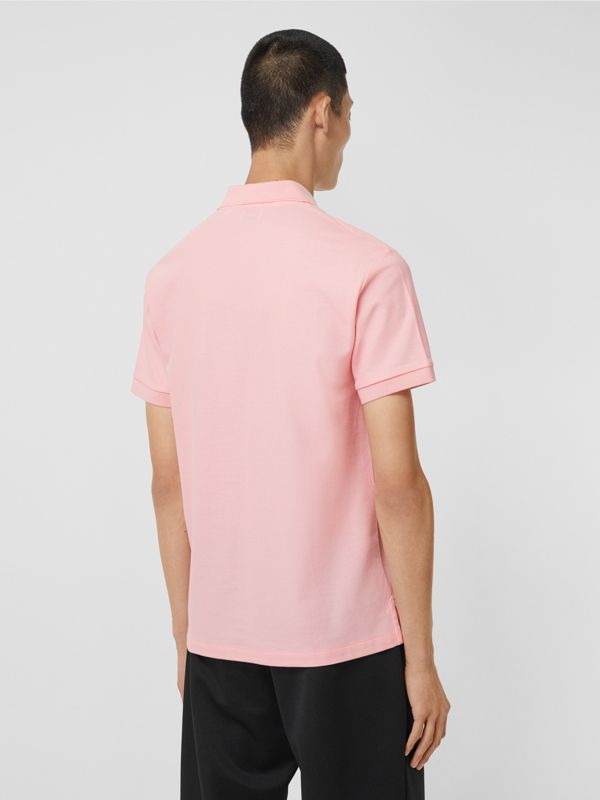 Monogram Motif Cotton Piqué Polo Shirt in Candy Pink - Men | Burberry Australia - cell image 2