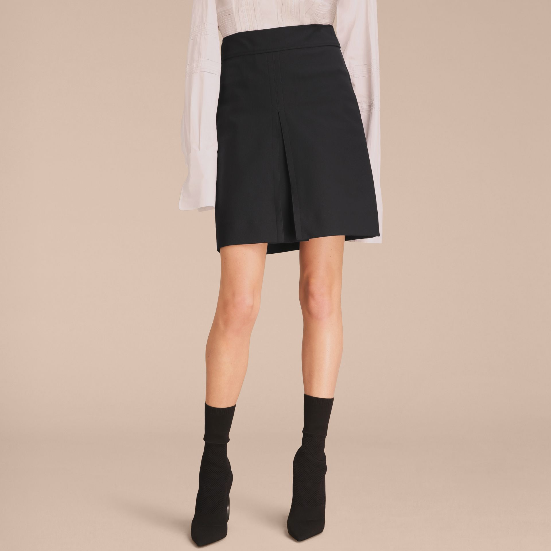 Stretch A-line Technical Skirt with Pleat Detail - gallery image 6