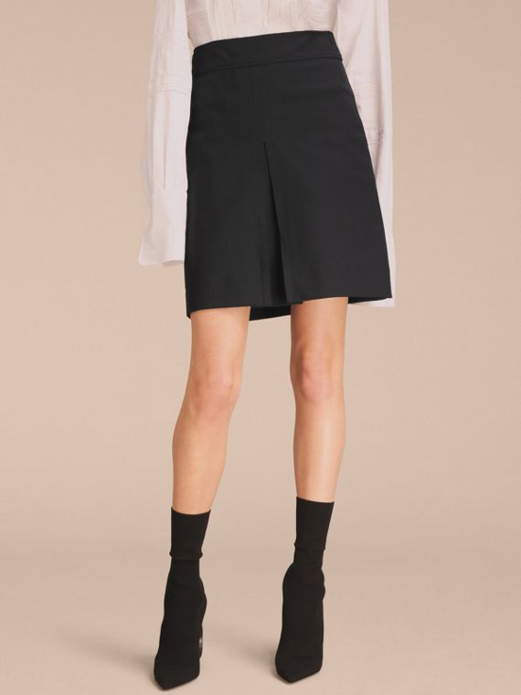 Stretch A-line Technical Skirt with Pleat Detail