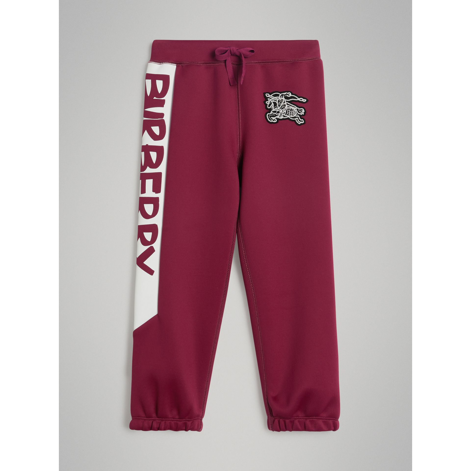 Graffiti Print Jersey Sweatpants in Burgundy - Boy | Burberry - gallery image 0