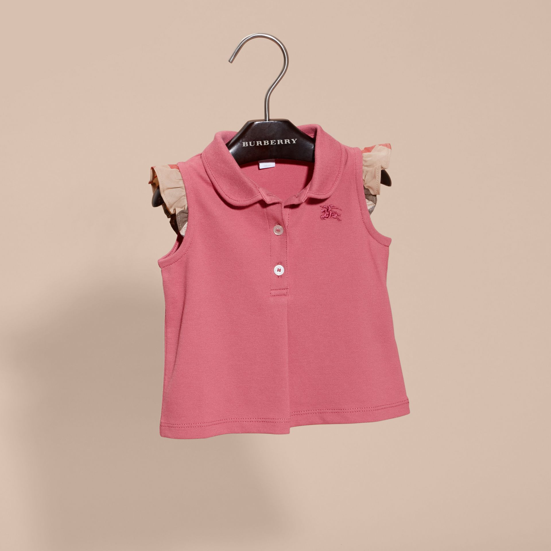 Stretch Cotton Polo Shirt with Check Sleeves Pink Azalea - gallery image 3