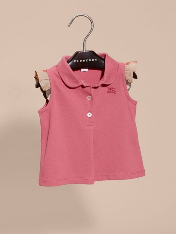 Stretch Cotton Polo Shirt with Check Sleeves Pink Azalea - cell image 2