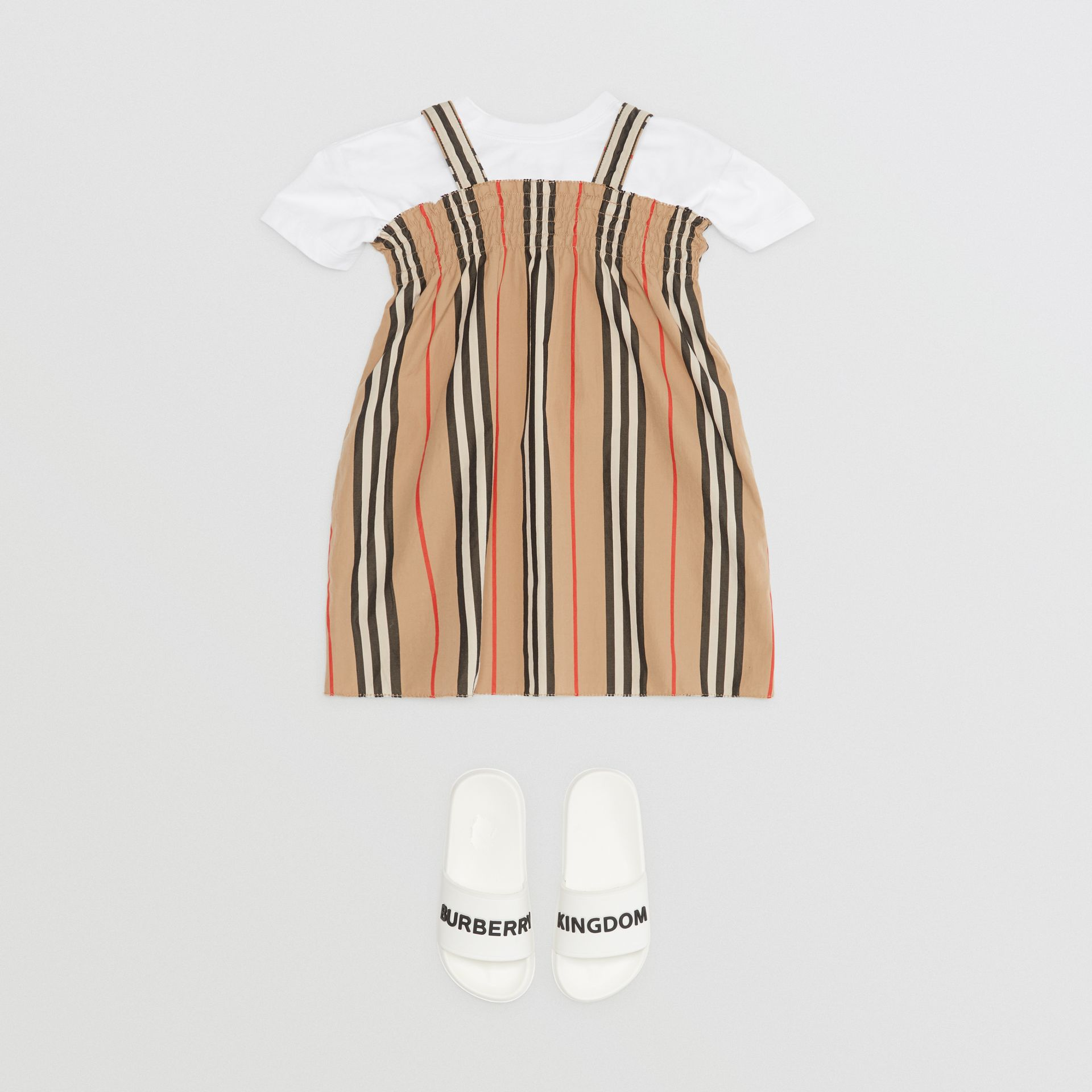 Smocked Icon Stripe Cotton Dress in Archive Beige - Children | Burberry - gallery image 2