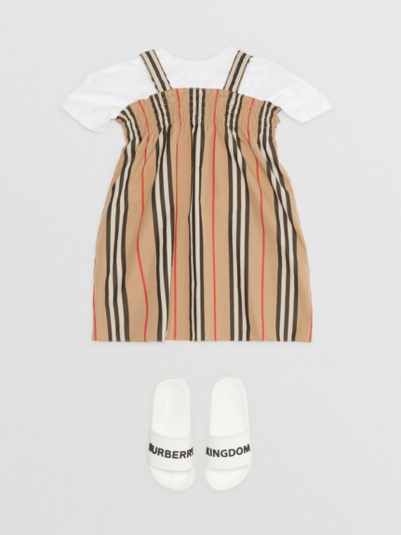 Baumwollkleid mit Streifen und Smokdetail (Vintage-beige)