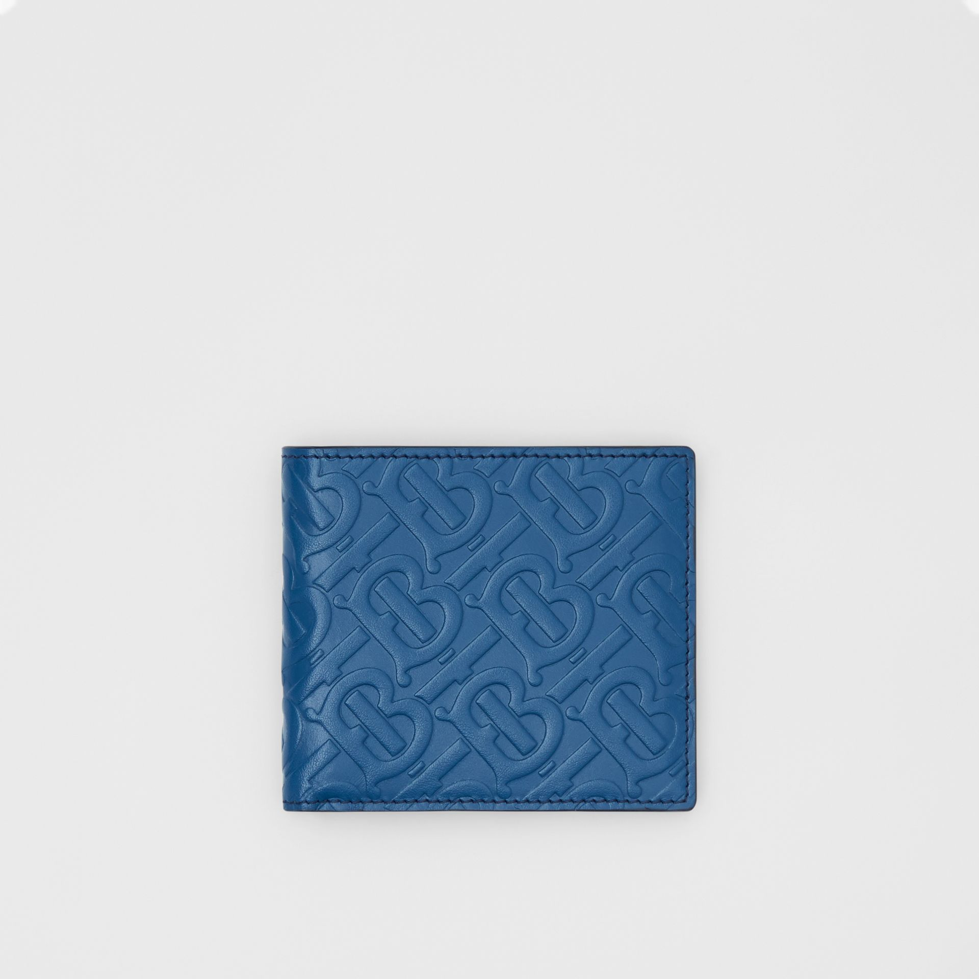 Monogram Leather International Bifold Wallet in Pale Canvas Blue - Men   Burberry - gallery image 0