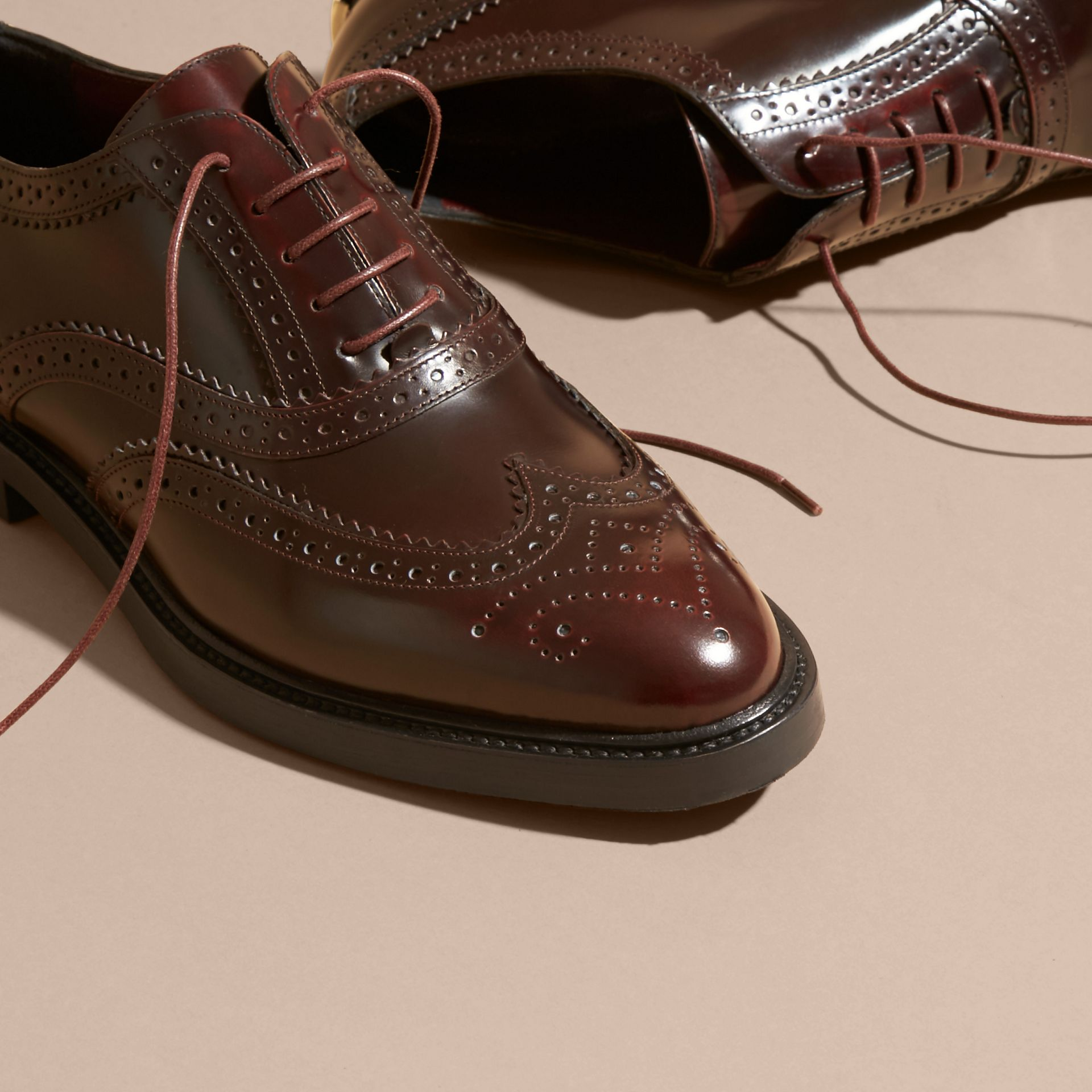 Bordeaux Leather Wingtip Brogues - gallery image 3