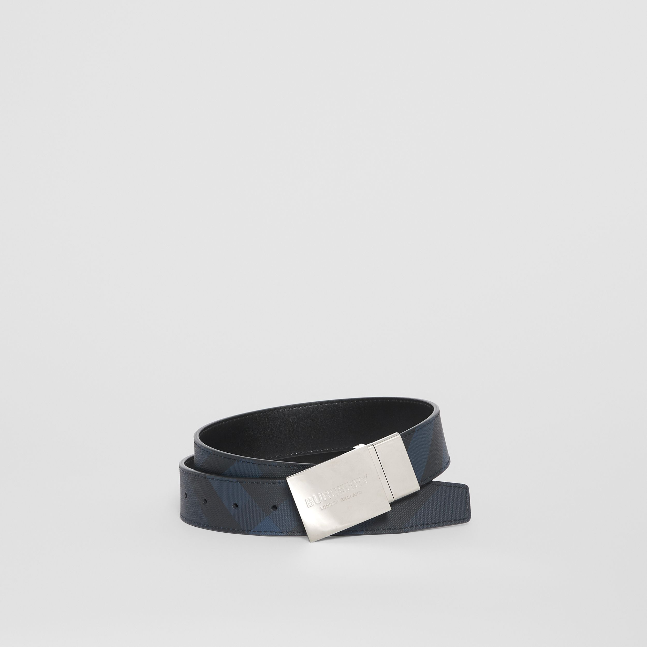Reversible Plaque Buckle London Check Belt in Navy/black - Men | Burberry - 1