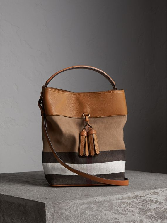 The Ashby media con pelle e motivo Canvas check - Donna | Burberry