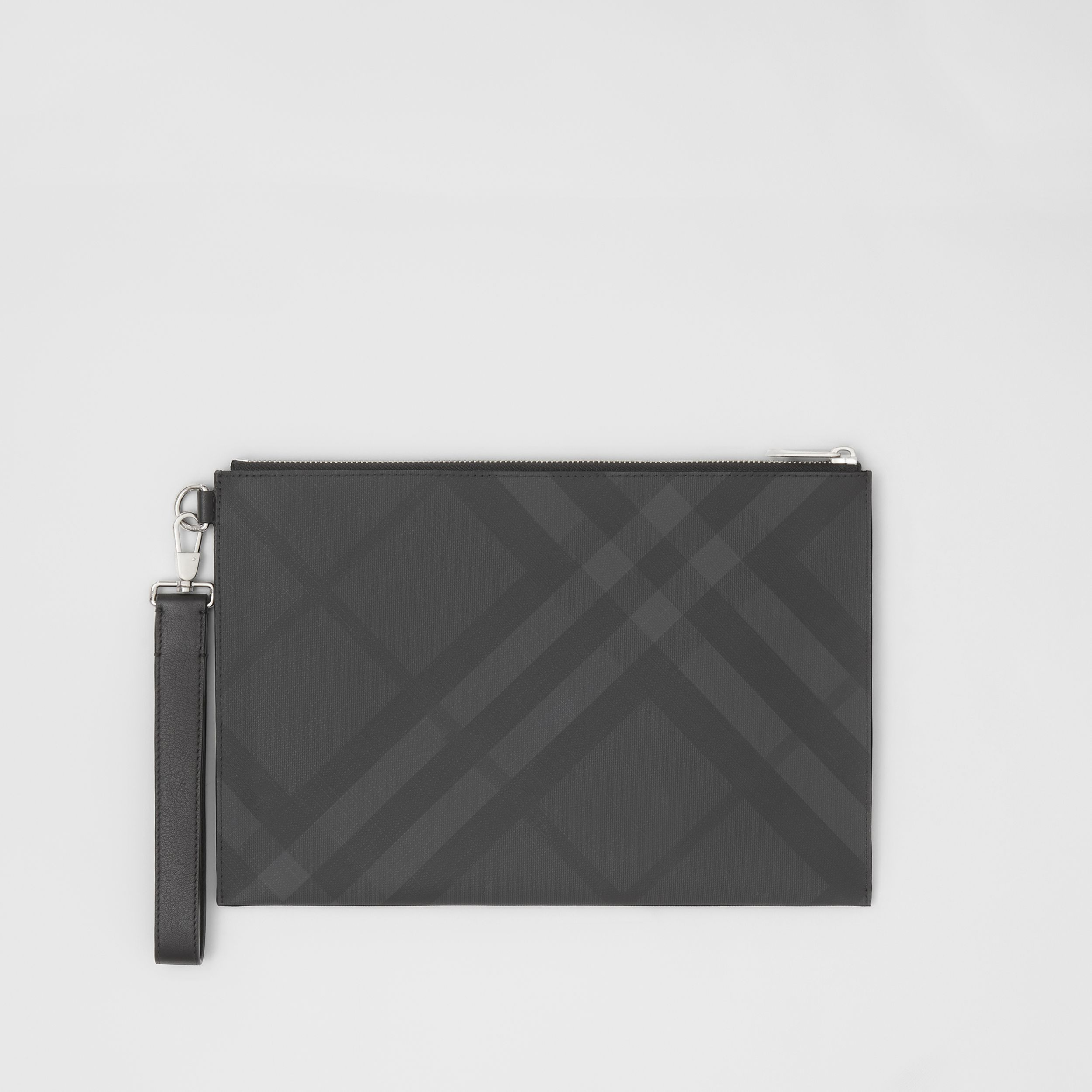 London Check and Leather Zip Pouch in Dark Charcoal - Men | Burberry - 1