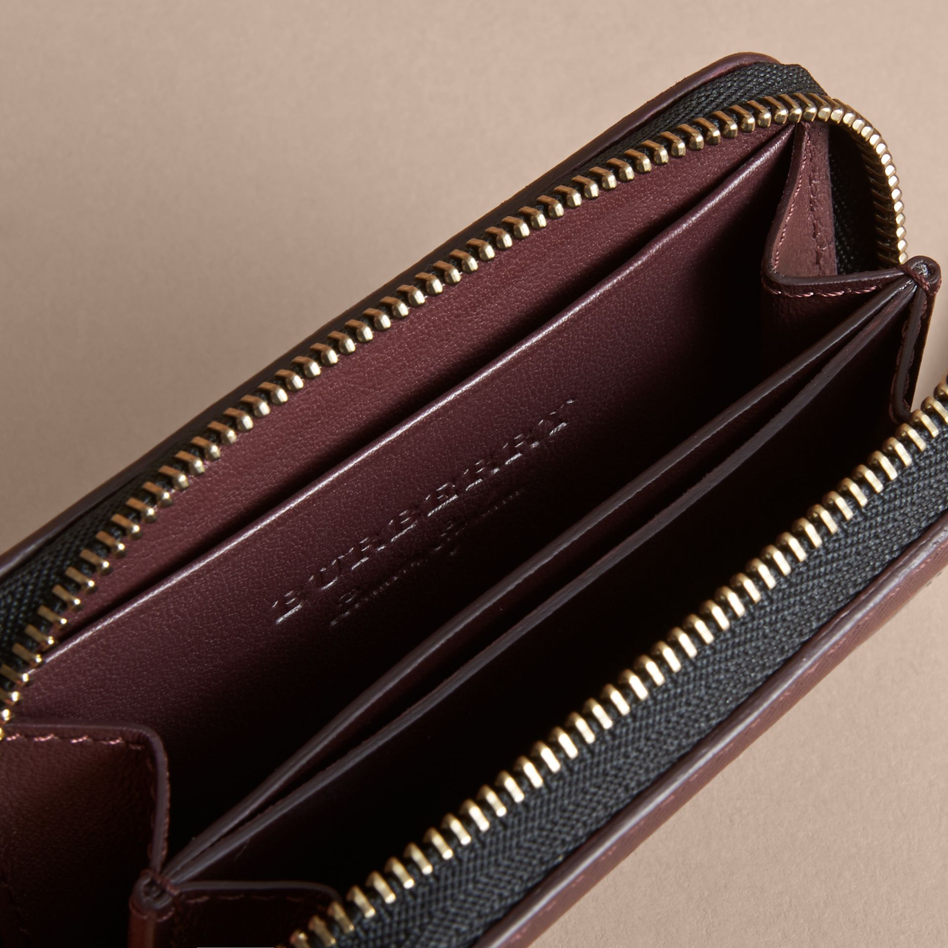 Trench Leather Ziparound Coin Case in Wine - Men | Burberry Australia - gallery image 3