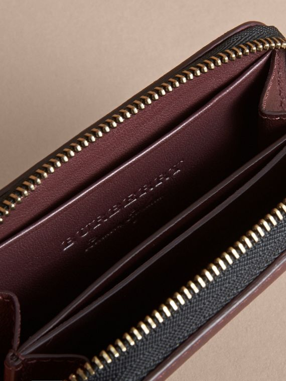 Trench Leather Ziparound Coin Case in Wine - Men | Burberry Singapore - cell image 2