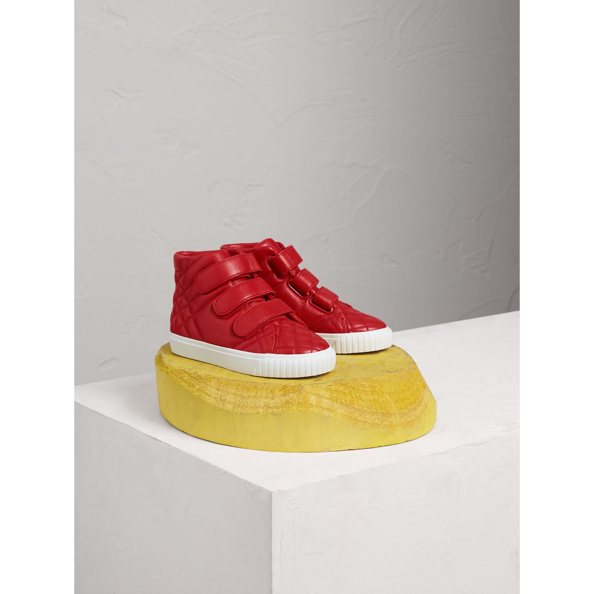 Quilted Leather High-top Trainers in Parade Red | Burberry - gallery image 1
