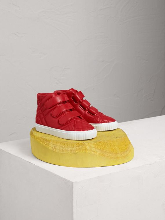 Quilted Leather High-top Trainers in Parade Red