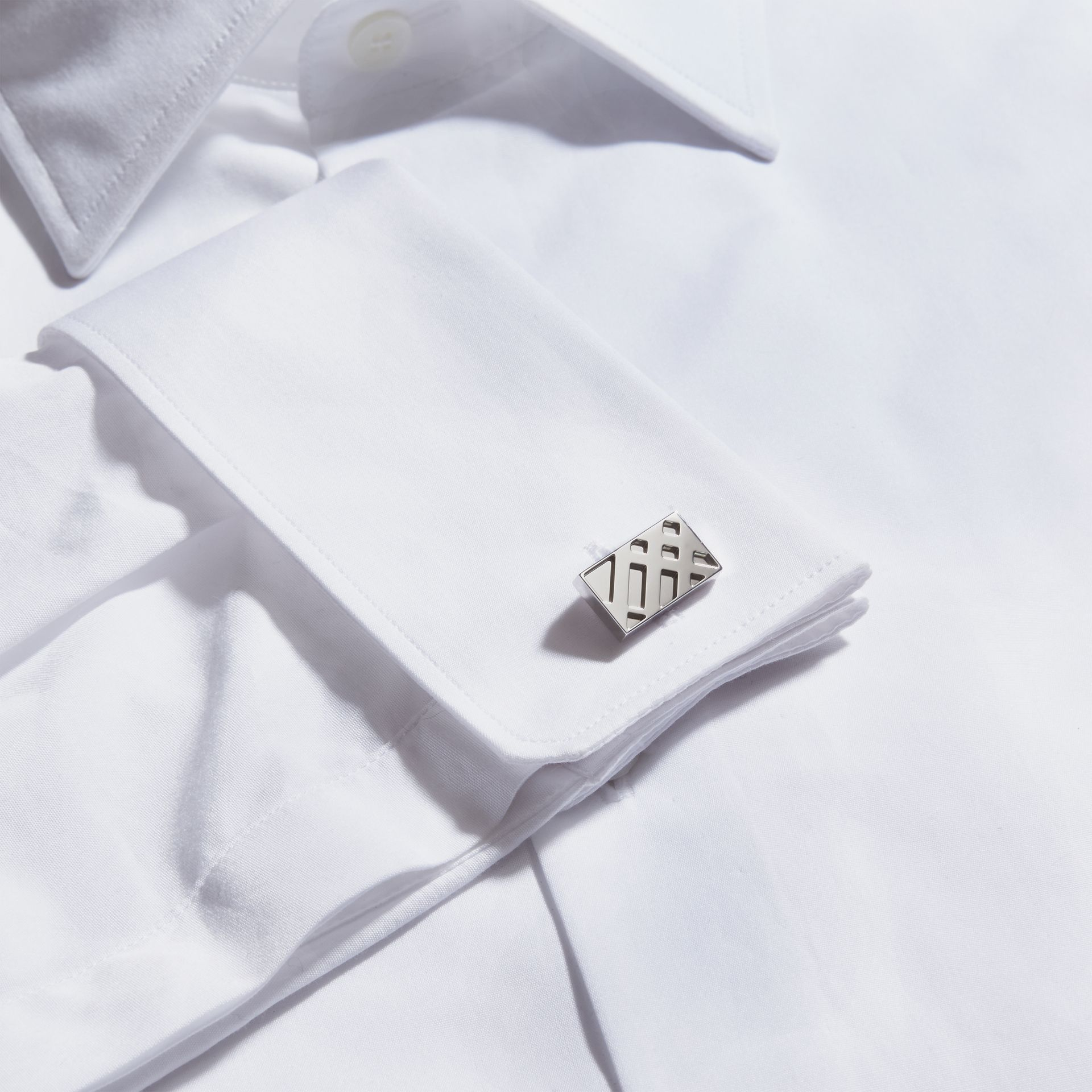 Check-Engraved Sterling Silver Cufflinks - Men | Burberry Australia - gallery image 2