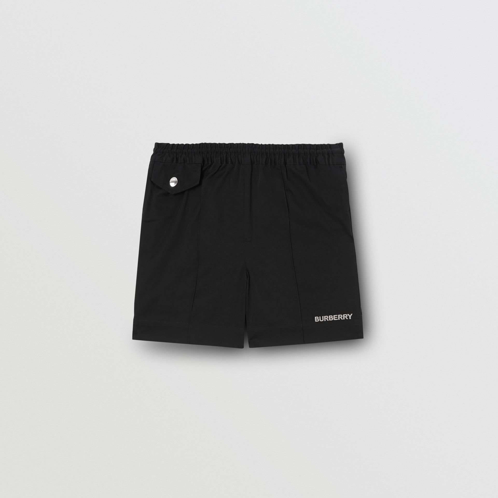Embroidered Logo Cotton Drawcord Shorts in Black | Burberry - gallery image 0