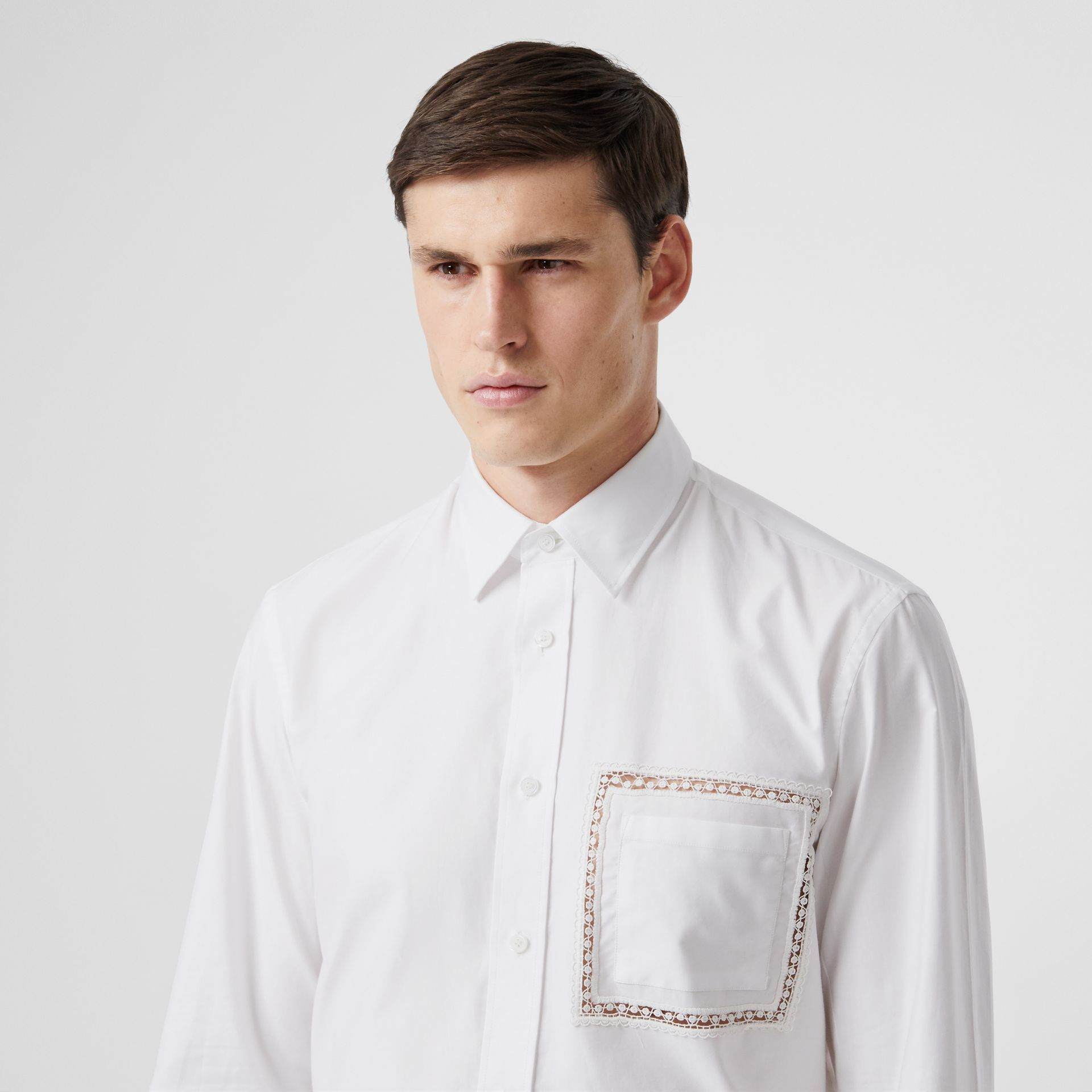 Classic Fit Lace Detail Cotton Poplin Oxford Shirt in Optic White | Burberry United Kingdom - gallery image 1