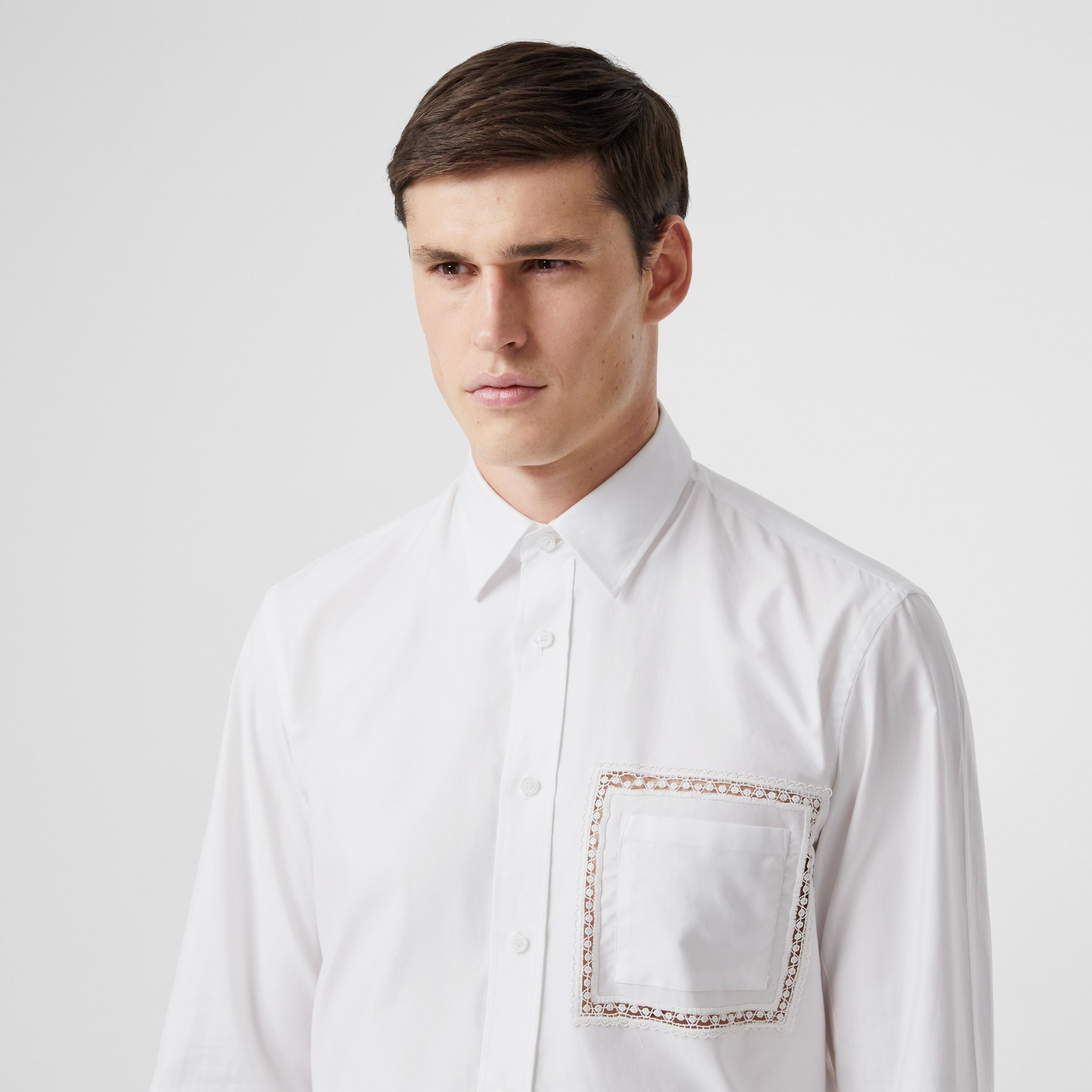 Classic Fit Lace Detail Cotton Poplin Oxford Shirt in Optic White - Men | Burberry - 2