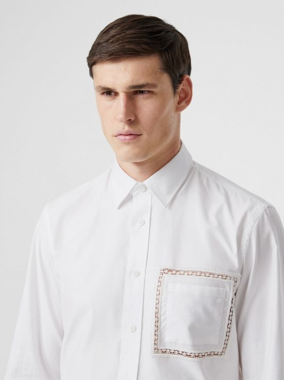 Classic Fit Lace Detail Cotton Poplin Oxford Shirt in Optic White | Burberry United Kingdom - cell image 1