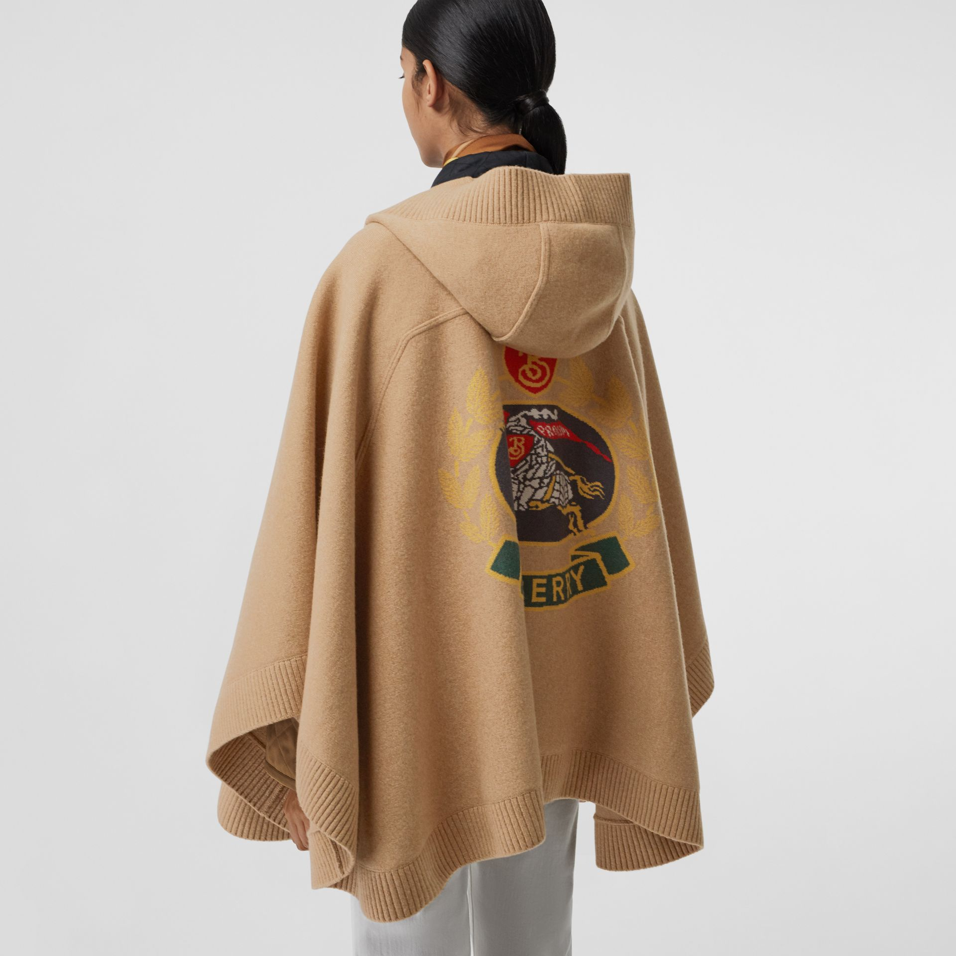 Crest Wool Blend Jacquard Hooded Cape in Rusty Camel - Women | Burberry - gallery image 4