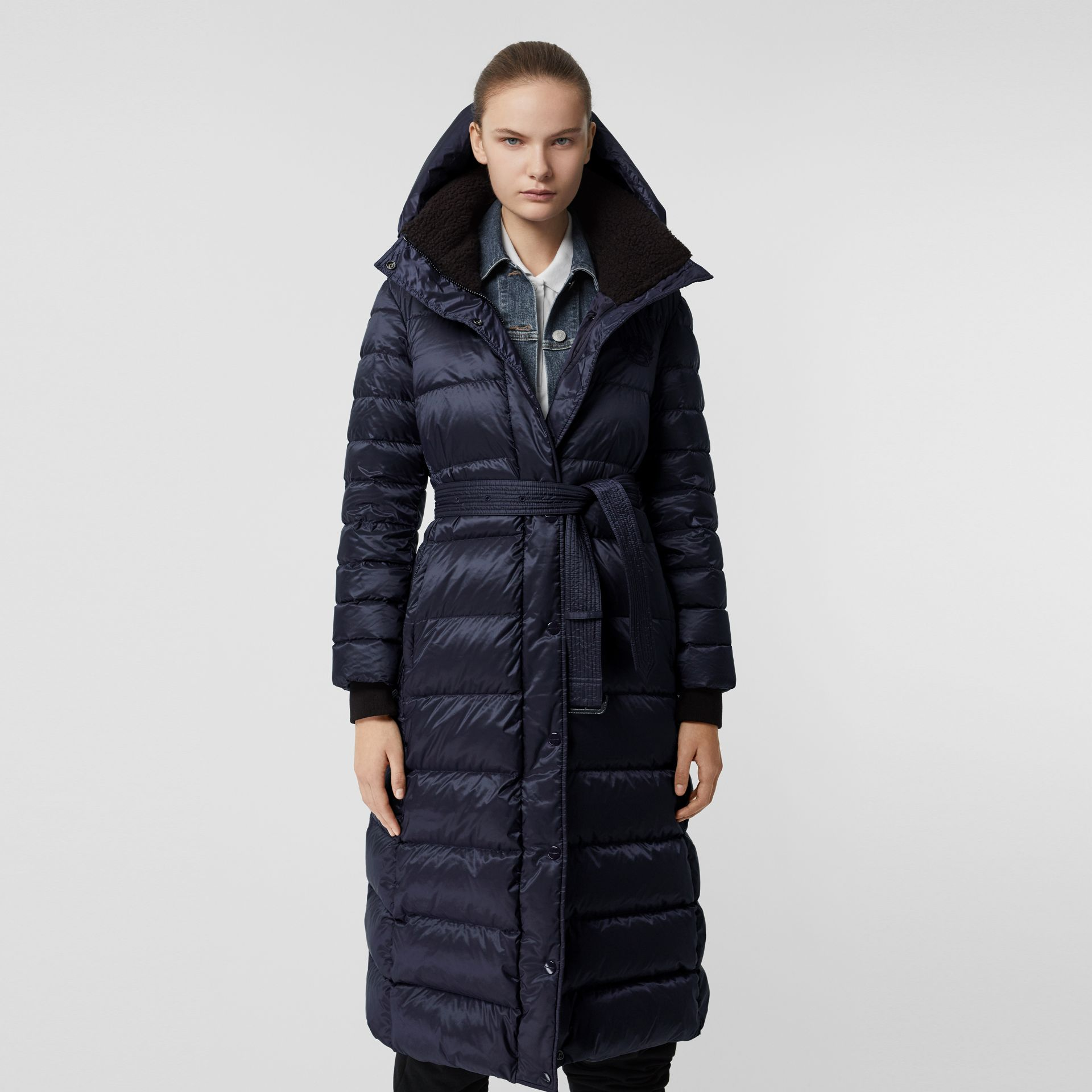 Down-filled Hooded Puffer Coat in Navy - Women | Burberry - gallery image 6