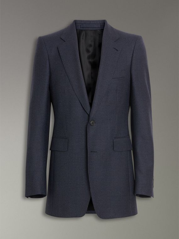 Slim Fit Puppytooth Wool Suit in Navy - Men | Burberry United Kingdom - cell image 3