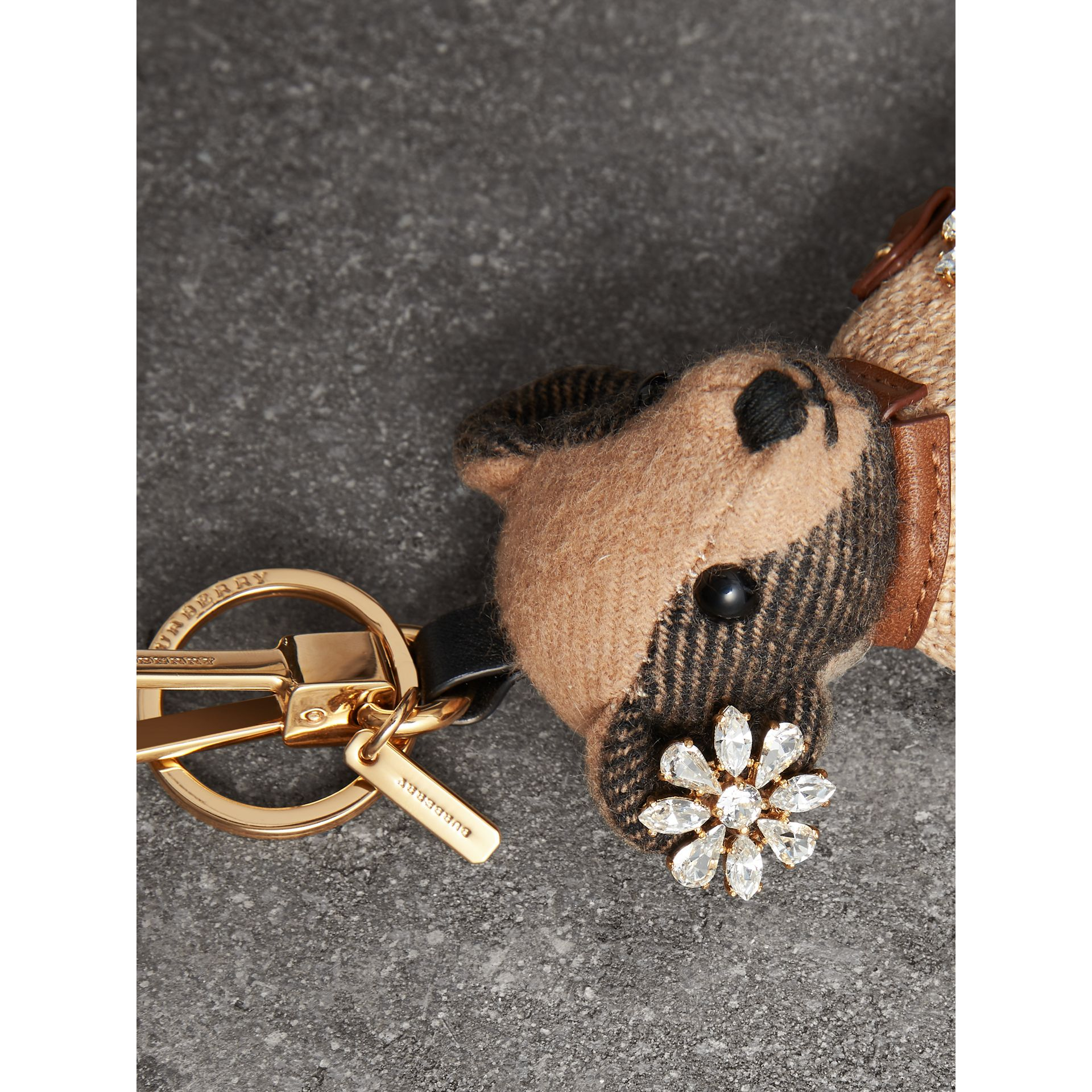 Thomas Bear Charm in Cape with Crystals in Camel | Burberry United Kingdom - gallery image 1