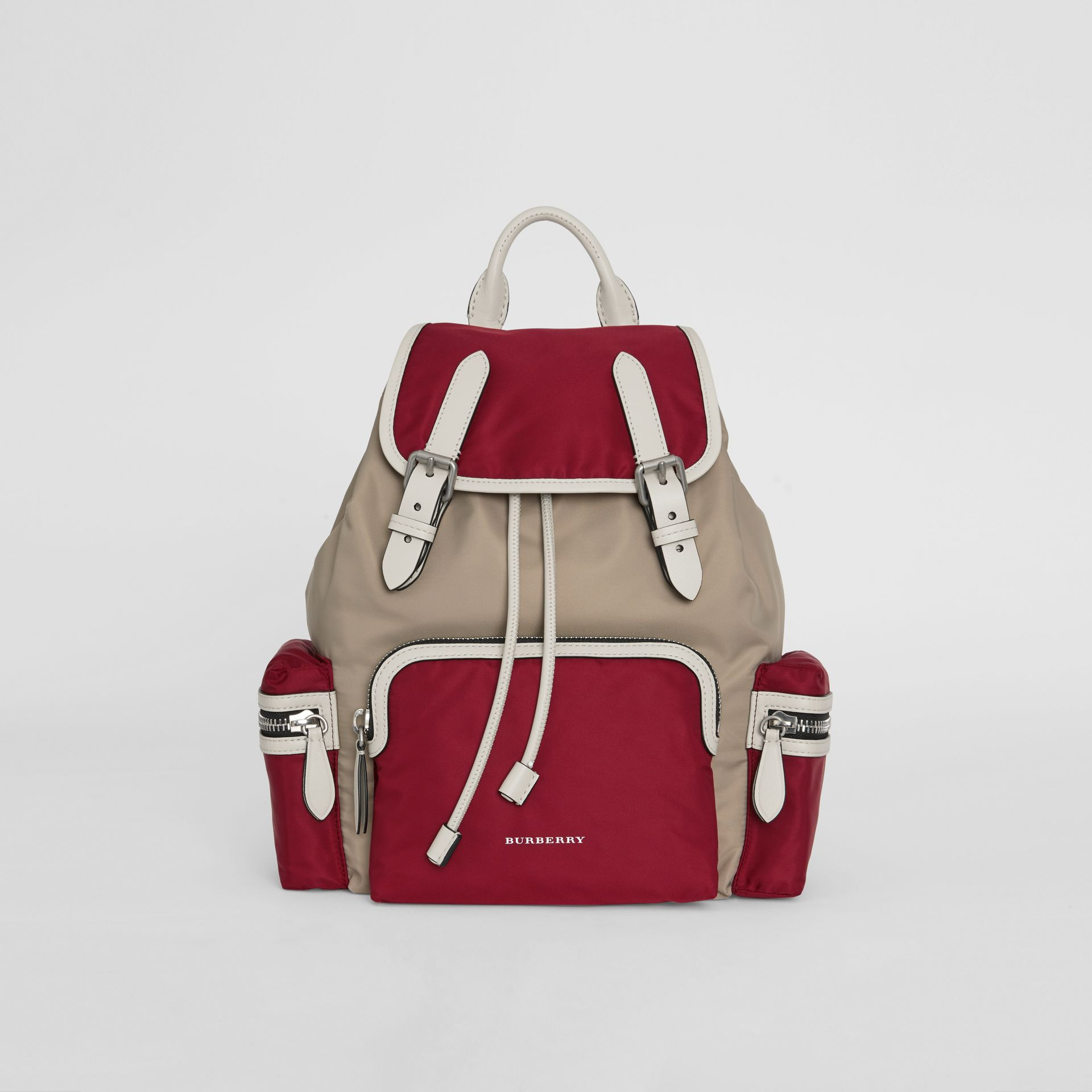 The Medium Rucksack in Colour Block Nylon and Leather in Crimson - Women | Burberry Singapore - gallery image 0
