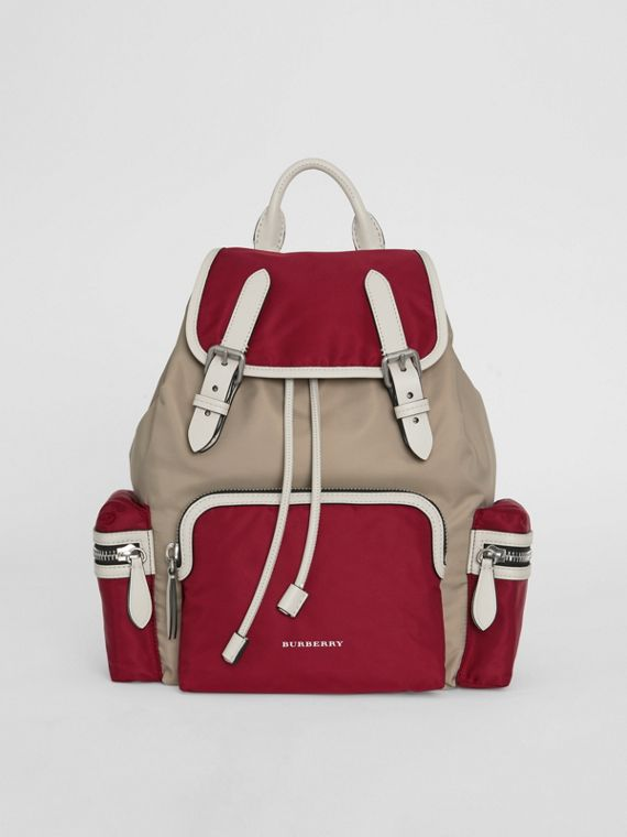 The Medium Rucksack in Colour Block Nylon and Leather in Crimson