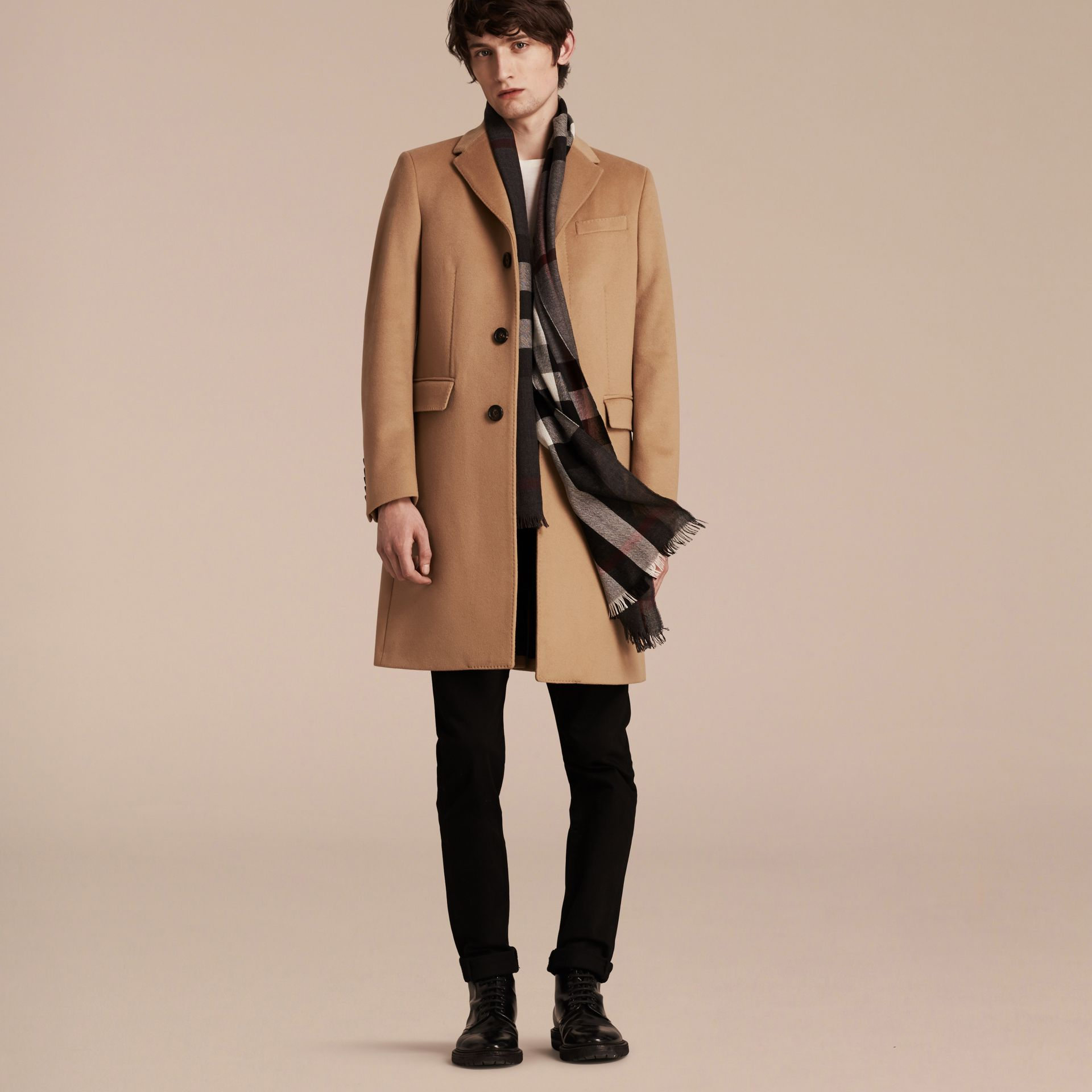 Wool Cashmere Tailored Coat in Camel - Men | Burberry - gallery image 7