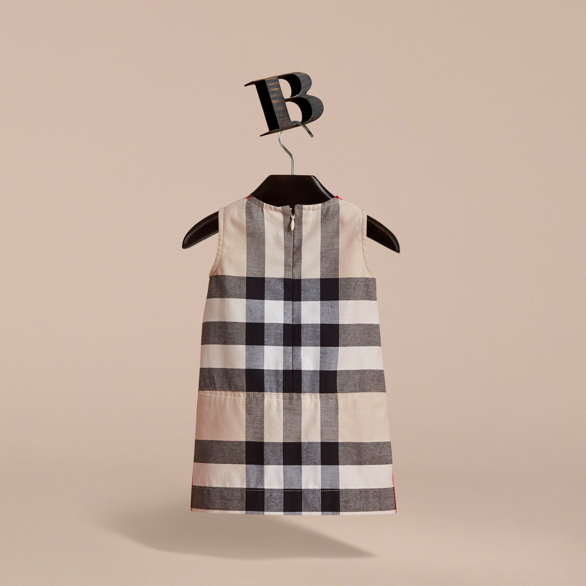 Pleated Washed Check Cotton A-line Dress in Stone | Burberry - gallery image 4