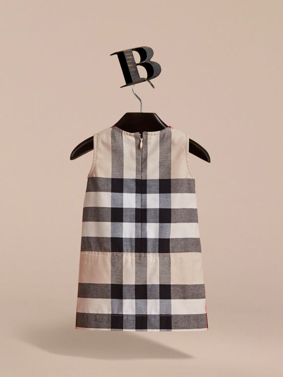 Pleated Washed Check Cotton A-line Dress | Burberry - cell image 3