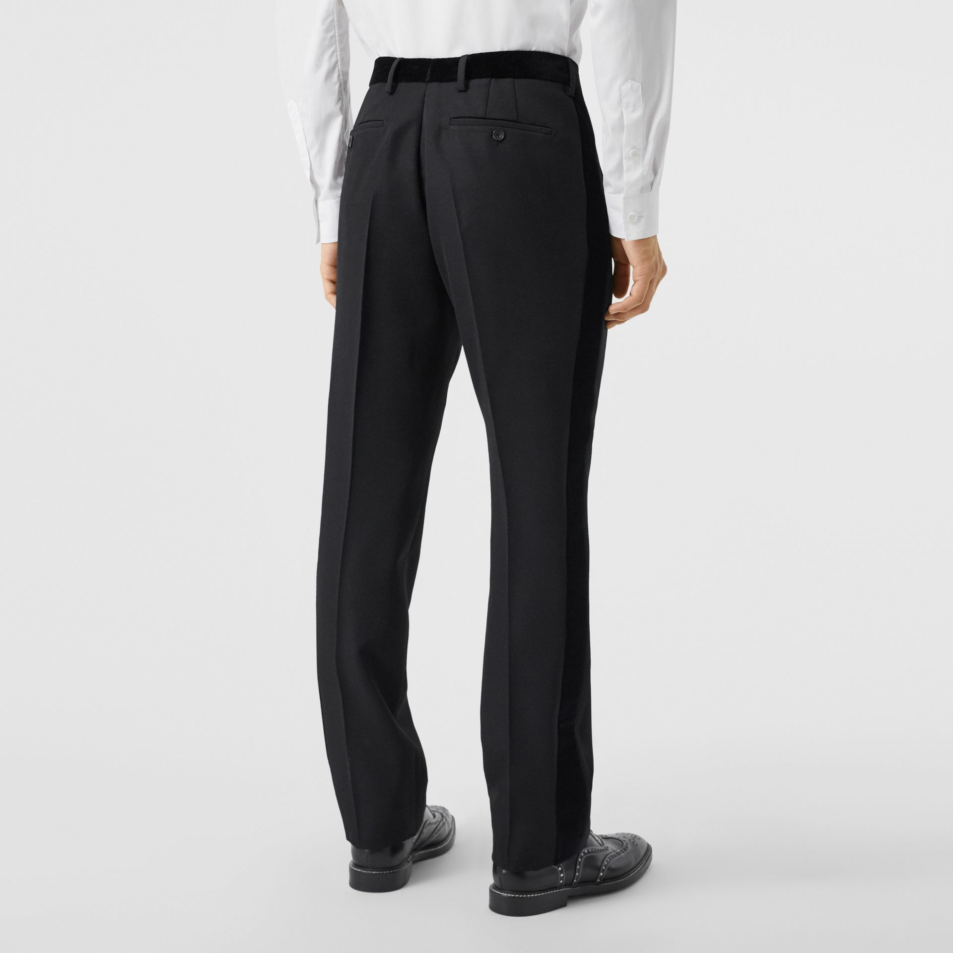 Classic Fit Velvet Trim Wool Tailored Trousers in Black - Men | Burberry - gallery image 2