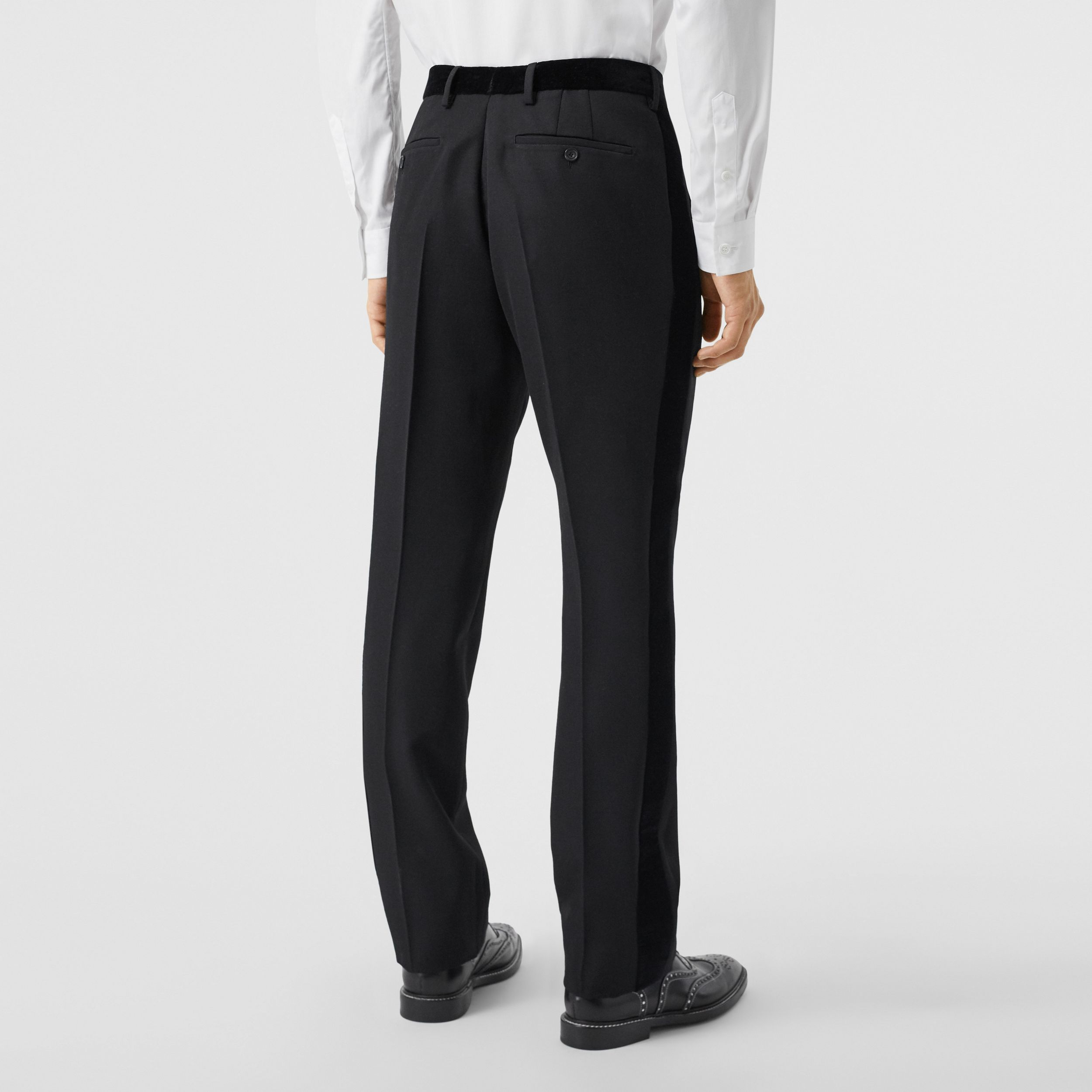 Classic Fit Velvet Trim Wool Tailored Trousers in Black - Men | Burberry - 3