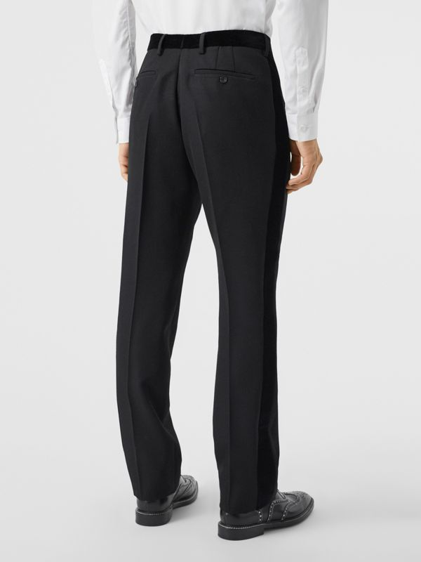 Classic Fit Velvet Trim Wool Tailored Trousers in Black - Men | Burberry - cell image 2