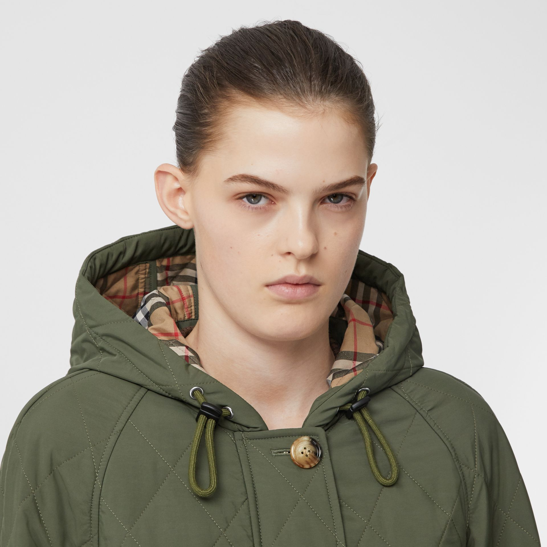Diamond Quilted Thermoregulated Hooded Coat in Poplar Green - Women | Burberry - gallery image 1
