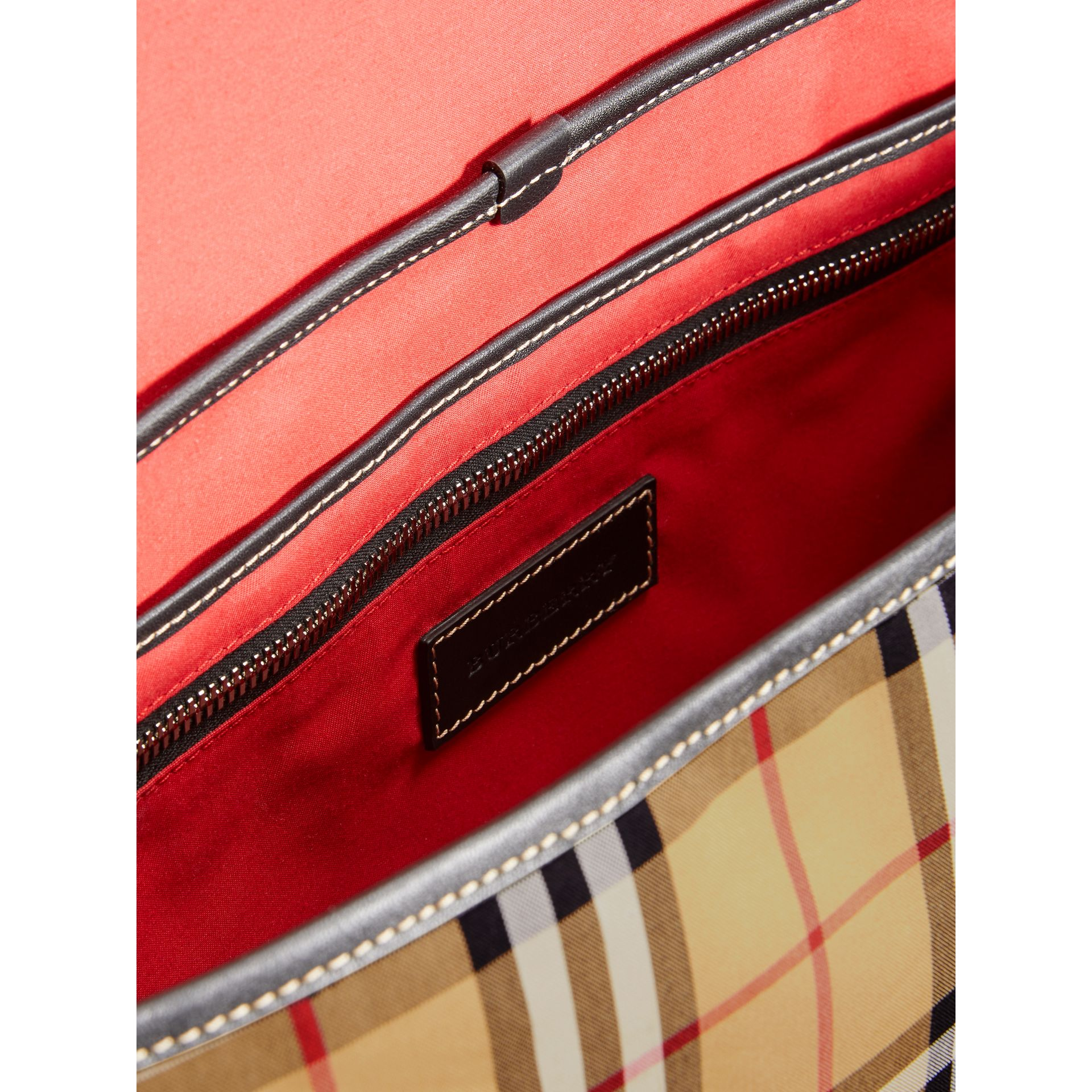 Large Leather Trim Vintage Check Messenger Bag in Antique Yellow/military Red - Men | Burberry - gallery image 5