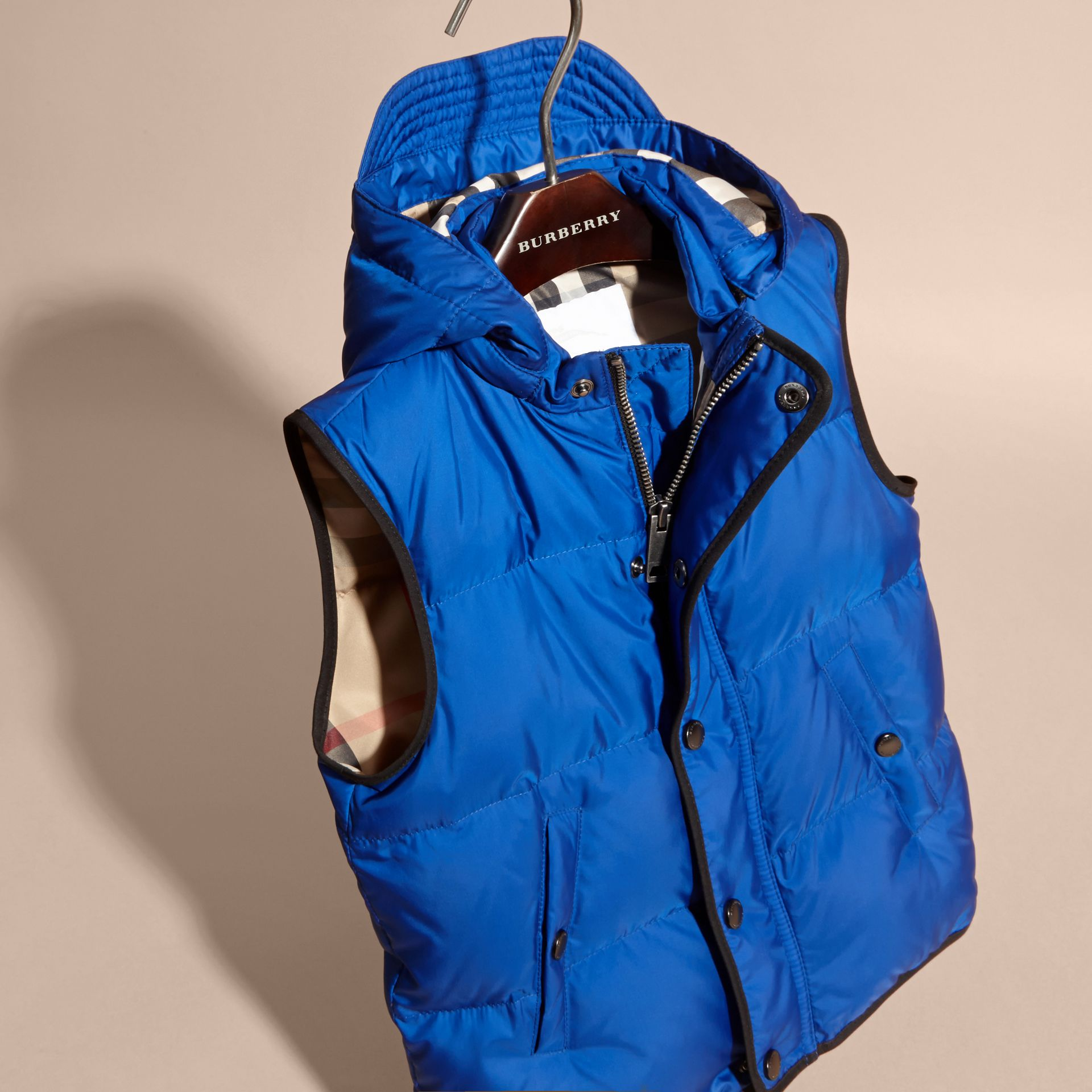 Brilliant blue Down-filled Hooded Gilet Brilliant Blue - gallery image 3