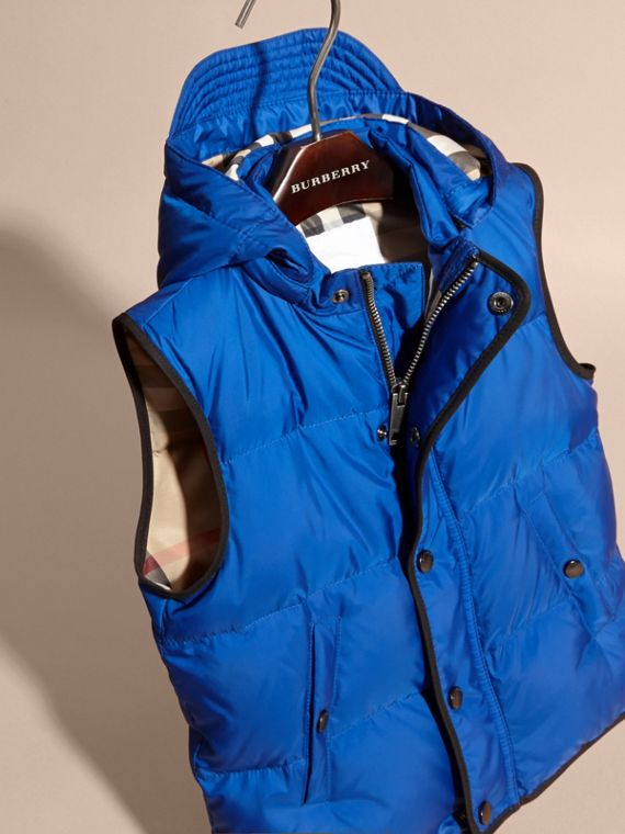 Brilliant blue Down-filled Hooded Gilet Brilliant Blue - cell image 2