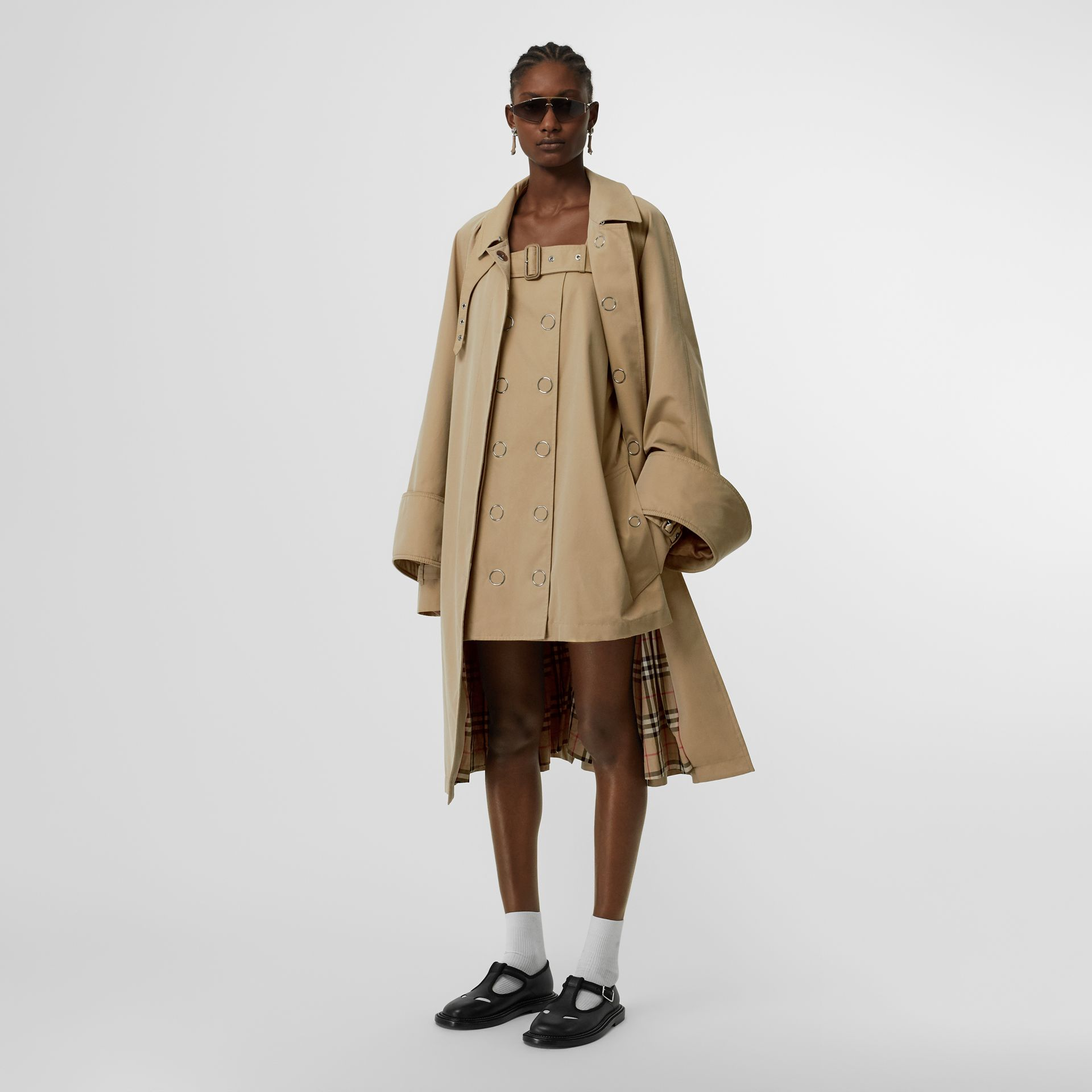 Exaggerated Cuff Cotton Gabardine Car Coat in Pale Honey - Women | Burberry - gallery image 0
