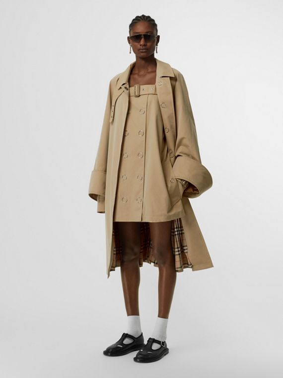 Exaggerated Cuff Cotton Gabardine Car Coat in Pale Honey
