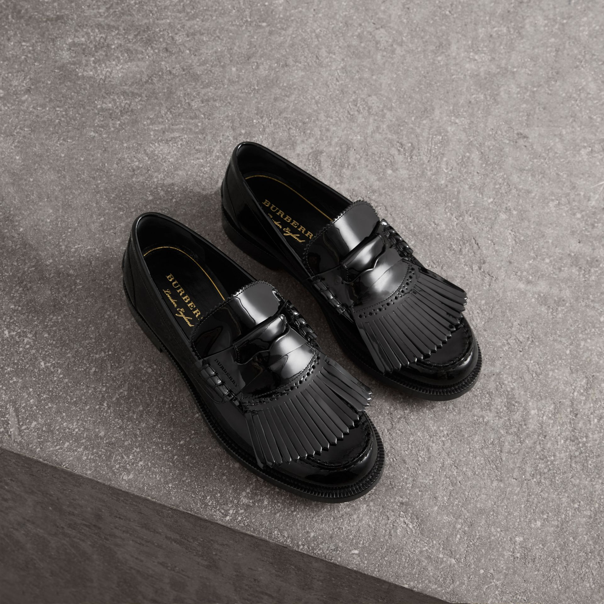Kiltie Fringe Patent Leather Loafers in Black - Men | Burberry Canada - gallery image 0