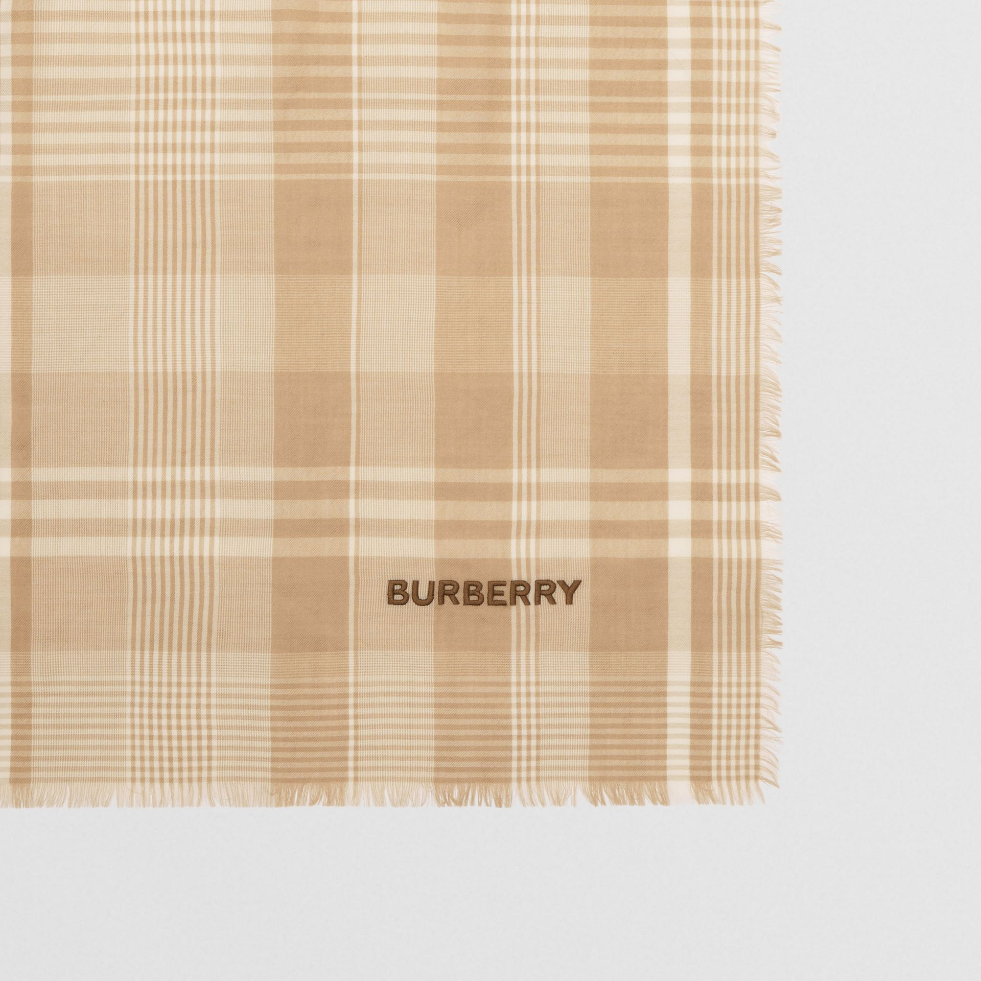 Logo Embroidered Lightweight Check Cashmere Scarf in Archive Beige/white | Burberry United Kingdom - gallery image 1