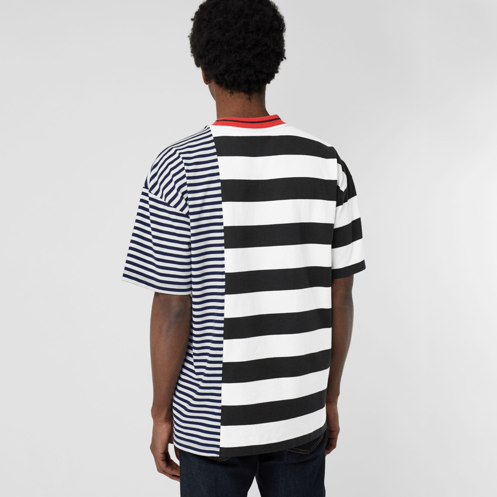 Contrast Stripe Cotton T-shirt in Navy - Men | Burberry - gallery image 2