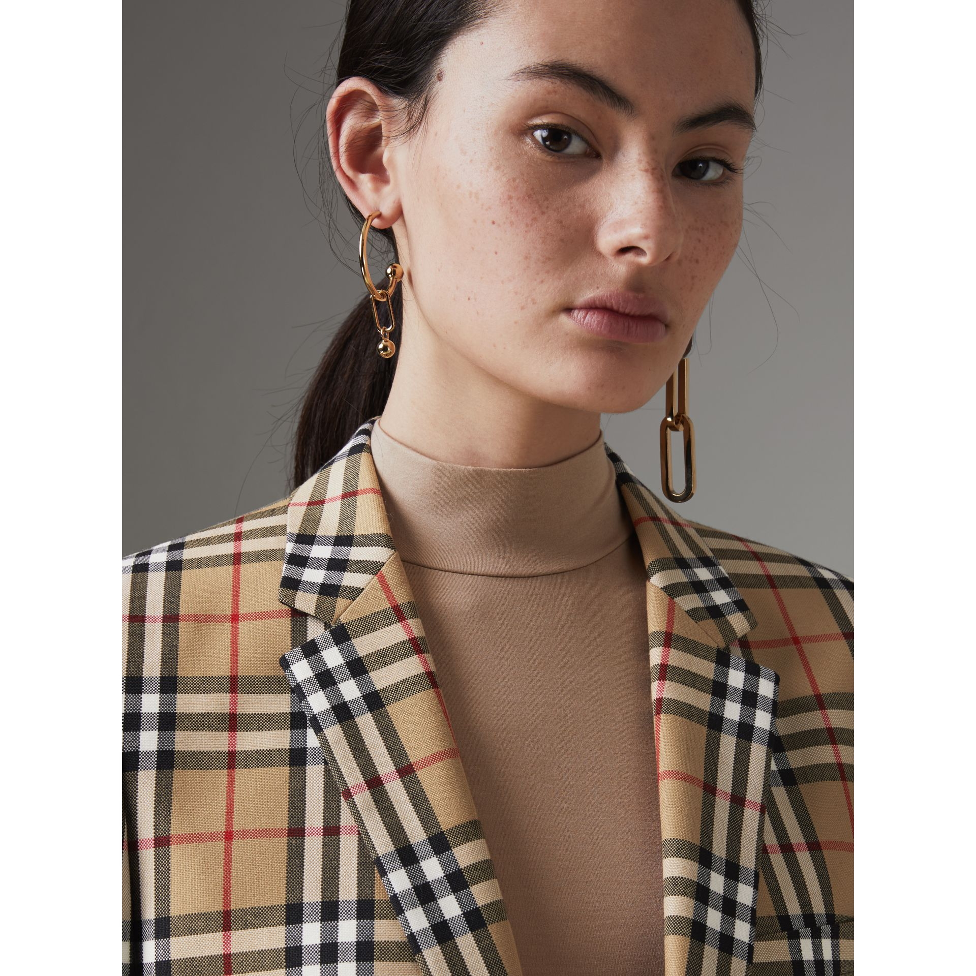 Vintage Check Wool Tailored Jacket in Antique Yellow - Women | Burberry - gallery image 1
