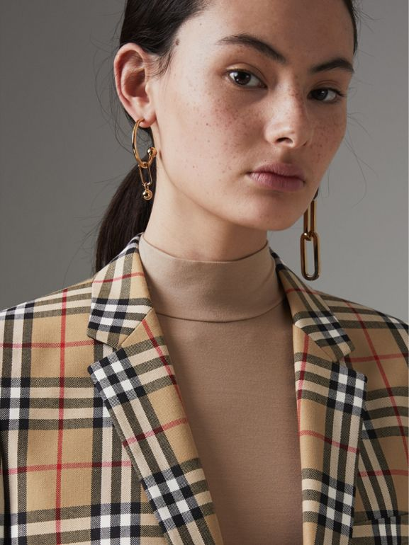 Vintage Check Wool Tailored Jacket in Antique Yellow - Women | Burberry - cell image 1