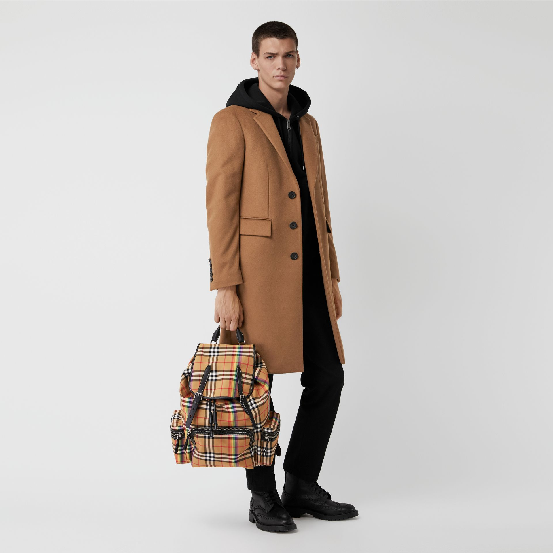 The Large Rucksack in Rainbow Vintage Check in Antique Yellow | Burberry - gallery image 2