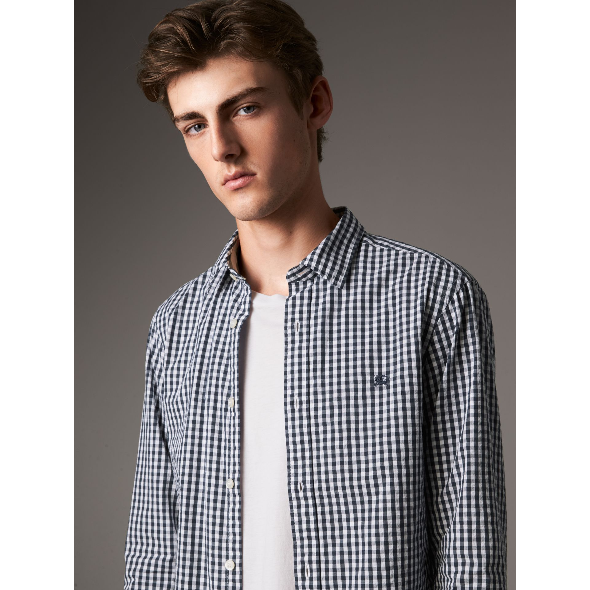Gingham Cotton Poplin Shirt with Check Detail in Ink Blue - Men | Burberry - gallery image 5