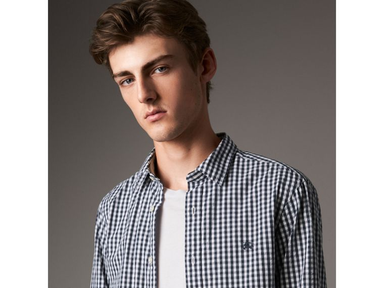 Gingham Cotton Poplin Shirt with Check Detail in Ink Blue - Men | Burberry - cell image 4